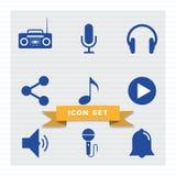 Style plat réglé d'icône musicale illustration libre de droits