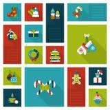Style plat réglé d'icône de nouvelle année de Noël Photos libres de droits