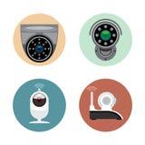 Style plat réglé de caméra de sécurité d'enregistrement de surveillance Dispositifs stationnaires de cand télécommandé Images libres de droits