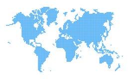 Style pointillé bleu de carte du monde Photos libres de droits