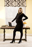 Style pregnant woman in home office Royalty Free Stock Image