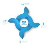 Style propre d'Infographic de cercle d'illustration numérique abstraite des flèches 3D Photos libres de droits