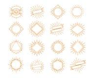 Style réglé d'or de cadre de rayon de soleil de vecteur d'isolement sur le fond blanc pour le logo illustration de vecteur