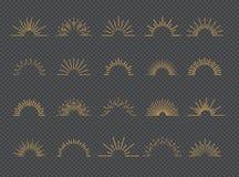 Style réglé d'or de rayon de soleil de vecteur d'isolement sur le fond transparent illustration de vecteur