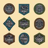 Style réglé de couleur de logo de camping Photos stock
