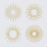 Style réglé de scintillement d'or de rayon de soleil sur le fond transparent illustration libre de droits