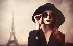 Style redhead women with sunglasses. Royalty Free Stock Photo