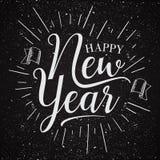 Style retro emblem design Happy New Year celebration greeting card or background. Vintage letter happy new year for element design. Vector illustration EPS.8 stock illustration