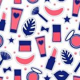 Style sans couture de mode de modèle Les bouteilles cosmétiques de signe de beauté d'abrégé sur réglé maquillage dirigent l'illus illustration libre de droits