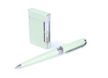 Style Set. Cigarette lighter and pen isolated over white background Royalty Free Stock Photos