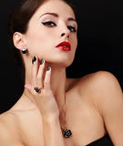 Style sexy female model with manicured hands with ring on the finger and red lipstick Stock Photos