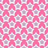 Style shape silhouette shiny star vector illustration seamless pattern pink background. Style shape silhouette shiny star vector illustration. Pointed pentagonal Royalty Free Stock Image