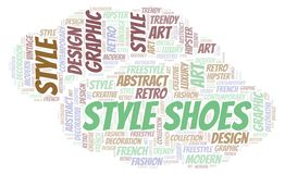 Style Shoes word cloud. Wordcloud made with text only royalty free illustration