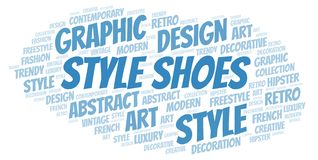 Style Shoes word cloud. Wordcloud made with text only vector illustration