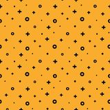 1980 style structured shape orange memphis pattern. Stylish 1980s abstract memphis seamless pattern. Trendy texture with order black shapes on orange background Royalty Free Stock Photos