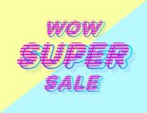 Style superbe de colorfull de bannière de vente de wow sur le fond bleu jaune pour la promotion Photo libre de droits