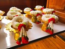Style thaïlandais de culture de belle guirlande de fleur blanche image libre de droits