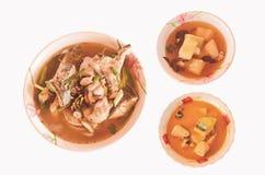 Style thaïlandais de nourriture quadrillée Photo stock