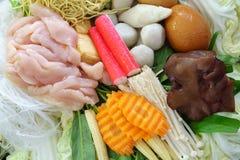 Style thaïlandais Shabu ou matière première d'ingrédient de Sukiyaki Photographie stock