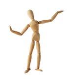 Style thaïlandais de vieille danse factice en bois de mannequin d'isolement dessus Photos stock