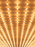Style theater marquee lights walkway to the theater. Royalty Free Stock Photo