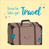 Style tiré par la main d'illustration de sac de voyage Rétro illustration de valise Photo de sac de déplacement avec des autocoll Image stock