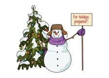 Style tiré par la main de bande dessinée de bonhomme de neige drôle près d'un arbre de Noël attendant le début des vacances illustration stock
