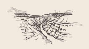 Style tiré par la main de canyon grand Illustration de croquis de l'Arizona illustration stock