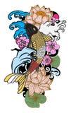 style tiré par la main de tatouage de Koi Carp Japanese de ‰ de ¹ d'à Photo libre de droits