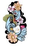style tiré par la main de tatouage de Koi Carp Japanese de ‰ de ¹ d'à Photo stock