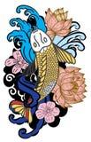 style tiré par la main de tatouage de Koi Carp Japanese de ‰ de ¹ d'à Photos stock