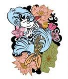 style tiré par la main de tatouage de Koi Carp Japanese de ‰ de ¹ d'à Images libres de droits