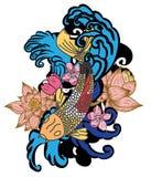 style tiré par la main de tatouage de Koi Carp Japanese de ‰ de ¹ d'à Image libre de droits