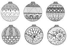 Style tiré par la main de zentangle de boules de Noël pour livre de coloriage Photographie stock