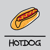 Style tiré par la main mignon de hot-dog, illustration de vecteur Photos stock