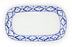 Style traditionnel de plat de modèle bleu et blanc d'ananas Images libres de droits