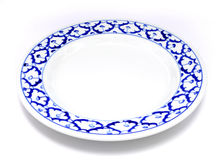 Style traditionnel de plat de modèle bleu et blanc d'ananas Photographie stock