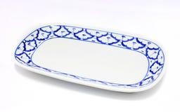 Style traditionnel de plat de modèle bleu et blanc d'ananas Image libre de droits