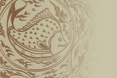 Style traditionnel de Sukhothai d'art de peinture de poissons Image libre de droits