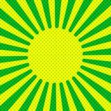 Style tramé d'art de bruit de rétro fond jaune comique de rayons Photographie stock