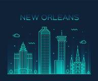 Style vecteur d'horizon de la Nouvelle-Orléans Etats-Unis de schéma illustration de vecteur