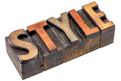 Style in vintage letterpress wood type Royalty Free Stock Photography