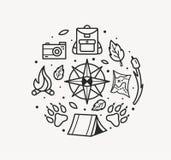 Style voyage d'aventure de schéma Boussole, pattes, sac à dos, tente, feu, caméra, carte pour le symbole de touristes, insigne de illustration de vecteur