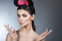 Style woman portrait perfect face, professional make. fashion mouse with big ears. Royalty Free Stock Image