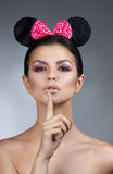 Style woman portrait perfect face, professional make. fashion mouse with big ears. Royalty Free Stock Photos