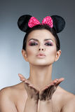 Style woman portrait perfect face, professional make. fashion mouse with big ears. Stock Image