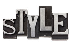 Style word in metal type Royalty Free Stock Photos