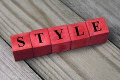 Style word on wooden cubes Stock Image