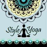 Style of yoga mandala pattern silhouette figure of a man in the Royalty Free Stock Image