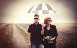 Style young couple at countryside Royalty Free Stock Photos